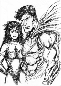 doodle: SUPERMAN WONDER WOMAN by vanchoran