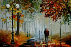 Foggy Morning by Leonid Afremov by Leonidafremov