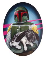 Boba Fett with Black and White Bunny by TrampLamps