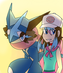 (Art Trade)  Stephanie and Greninja by AnnaDreamer24