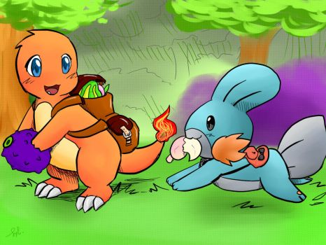 Pokemon gathering berries by sylvia65charm