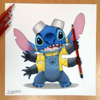 Stitch + Minion Pencil Drawing by AtomiccircuS