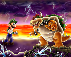 Giant Showdown: Luigi VS Bowser by Chris900J