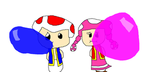 Request - Toad and Toadette blowing bubblegum by Socket78