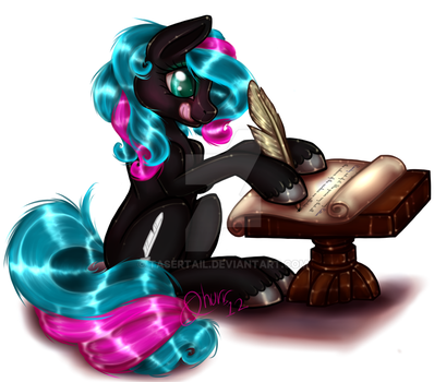Commission - Scribble Writing by tasertail