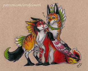 Coloured sketchie: Lovers commission by Eleweth
