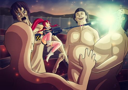 Yoko Battles the Hungry Titans by JussiKarro
