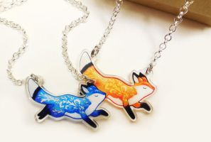 Fox Pendant Necklaces by michellescribbles