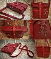 Red Hand Made Leather Bag by CRISTYNNA-NECROPOLIS