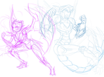 Dragalafly And Solar Fighting Scene (Sketch) by VexyFate