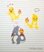 Shiny Charmander/Charmeleon/Charizard Stickers by pixelboundstudios