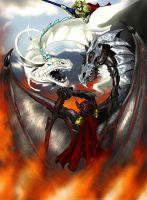 dragons battle by slinkyonion