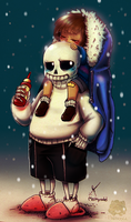 Frisk and Sans by Maikyodel