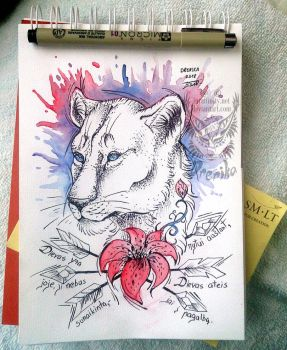 Prize: Lioness tattoo design by Drerika