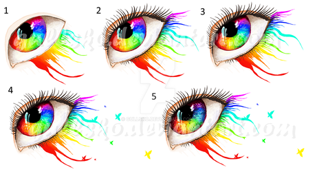 MS Paint Rainbow eye process pictures by Gullsko
