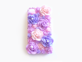 Purple and Pink Rose Garden Deco iPhone 4/4s Case by Kuppiecake