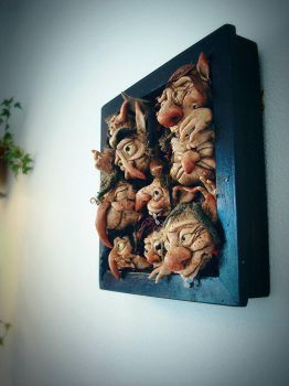 SOLD: Framed Goblins Wall Hanging by FaunleyFae