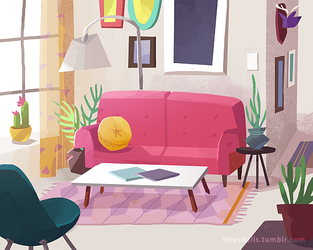 pink couch by tinysnail
