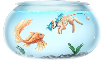 Swimming with a Fish | Finished YCH by xKittyblue