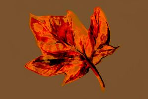 Watercolor of autumn dry leaf by oanaunciuleanu
