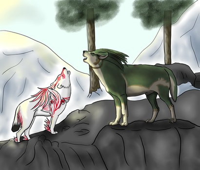 Ammy + Wolf Link by zukorocks90