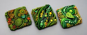 Tiny Textured Tiles created with Polymer Clay by MandarinMoon