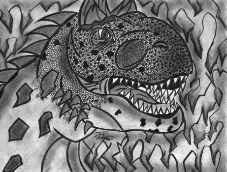 Carnotaurus ink and charcoal by Fire-Blitz