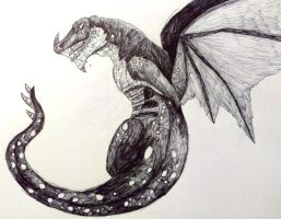 Inktober Day #4: The Wyvern by gearsGlorified
