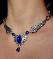 Blue wings necklace by Pinkabsinthe