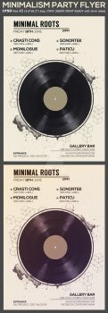Minimal Vinyl Party Flyer Template by Hotpindesigns