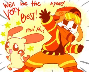 Trainertale: Youngster!Papyrus and Plusle by perfectshadow06