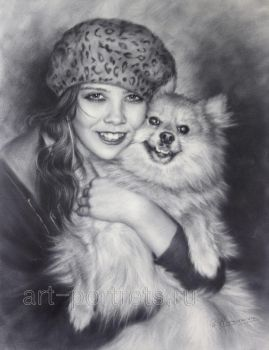 Portrait Drawing Girl with a little dog by Drawing-Portraits
