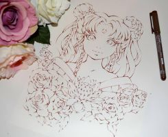 Floral Sailor Moon (Lineart) by Lighane
