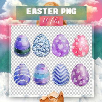 PNG PACK #22: Easter eggs(watercolor) by lollipop3103