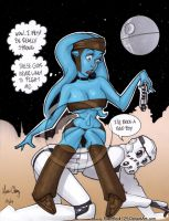 Aayla Secura + Stormtrooper by powerbook125