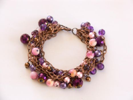 Purple and pink - copper and glass bracelet by OkeMani