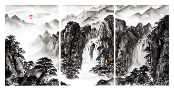 Landscape Painting Triptych - The Pilgrim's Path by Theophilia