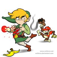 Toon Link Vs. Diddy Kong (SMBB) by Aniforce