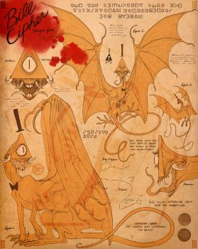 Bill Cipher Dragon - journal page by SammyTorres