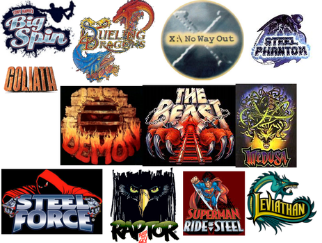My favorite roller coaster logos by PikachuxAsh