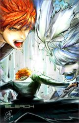 BLEACH- Ichigo and Hollow by borammy