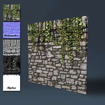 Old stone wall with top edge and ivy by DeepBlueDesign