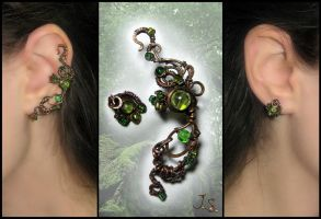 Ear cuff and stud Dryad by JuliaKotreJewelry