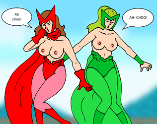 Scarlet Witch y Polaris Topless Sneeze commission by PariahExileWrath