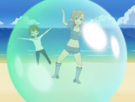 {Art Trade} little Aaron and Nikki in a bubble by triplezero5