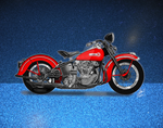 Vintage motorcycle on blue background by steverino365