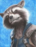 Rocket Raccoon (colored pencils) by MayTheForceBeWithYou