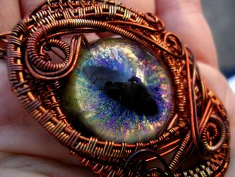 Wire Wrapped Dragon Eye - Copper Rainbow Peacock by LadyPirotessa