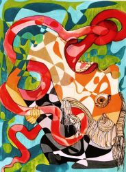 The fate of a balbbermouth(gouache 35x46cm) by Manizhe-Mehr