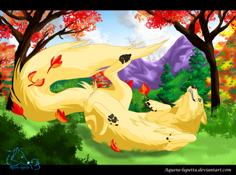 Playing with the autumn_Commission by Aquene-lupetta